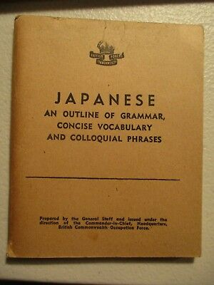 c1942-50 BCOF Japanese Language Guide Australian Officer issue ref: Y41