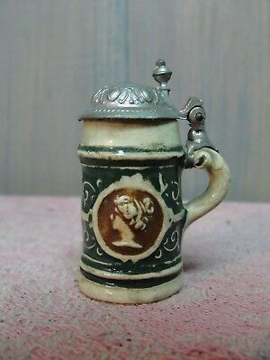 Antique Unmarked Miniature Covered Pottery Beer Stein w/ Metal Lid Germany