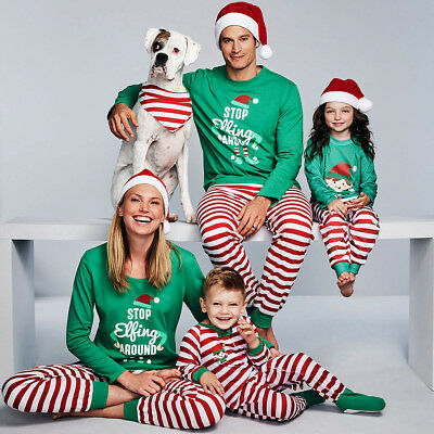 Family Christmas Pajamas Matching Sleepwear Nightwear Two-pieces Striped Outfits