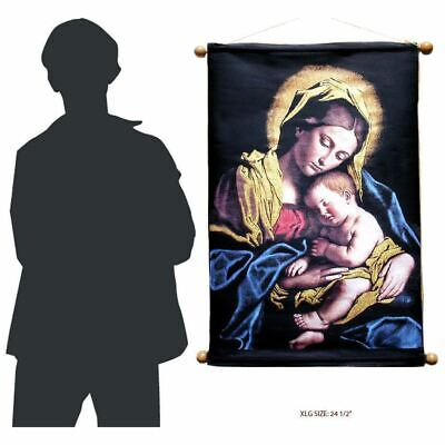 """Extra Large Tapestry Sacred Image of the Madonna & Child 24 1/2"""""""