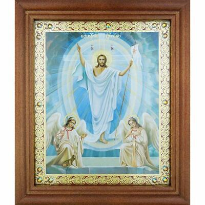 Resurrection of Christ Orthodox Christian Framed Icon with Glass & Crystals