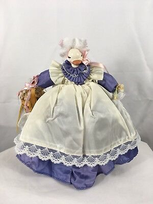 """Handmade Collectible Doll 10"""" Just Ducky, Country Duck w/ Dress, Apron, Basket"""