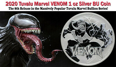 2020 Tuvalu Venom 1 oz .9999 Fine Silver Marvel Series $1 Coin GEM BU IN-STOCK!!