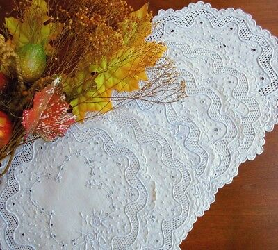 """Set: 6 Antique White Linen Doilies Swiss Hand-Embroidered Lace 8"""" Exquisite!"""