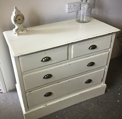 Stunning Antique Edwardian Chest Of Painted Mahogany Drawers - Courier -