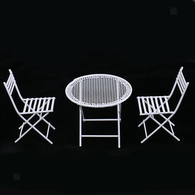 Miniature Metal White Table Chair for 1/12 Dolls House Room Garden Furniture