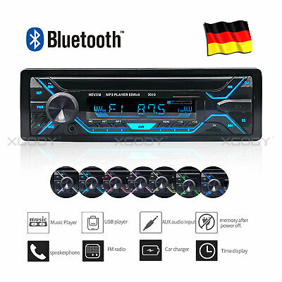 Autoradio Bluetooth MP3 USB TF AUX ID3 PLAYER FM Freisprecheinrich 1 DIN 7Farben