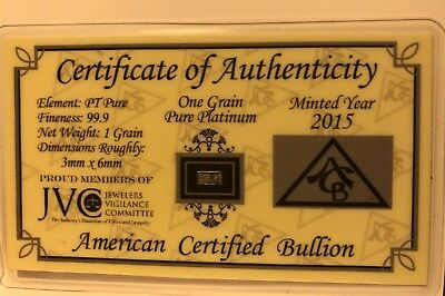 One (1) Grain Solid Platinum Bullion Minted Bar .9999 Fine Pure with COA - ACB