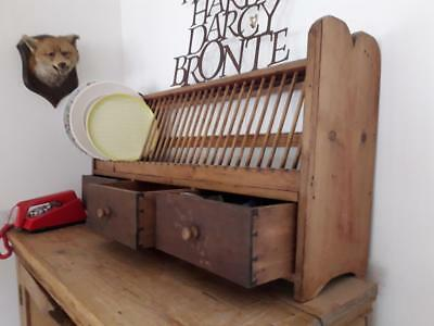 A  Vintage waxed  Large French rustic country plate rack
