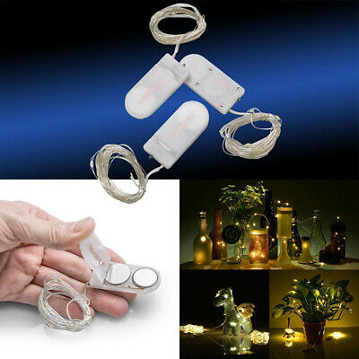 3 x 2M 20 LEDs Button Battery Operated Mini LED Silver Wire String Fairy Lights