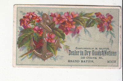 N Silvius Dry Goods & Notions Grand Rapids MI Anchor Flowers Vict Card c1880s