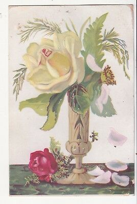 Yellow Rose in Ornate Vase Petals Falling No Advertising Vict Card c1880s