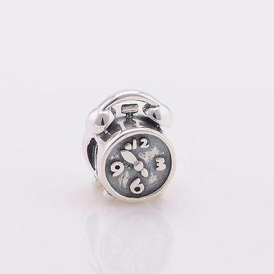 925 Sterling Silver Alarm Clock Time Watch Bracelet Charm Bead Gift Boxed W28