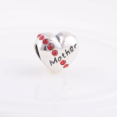 925 Sterling Silver Love Heart Mother Gems Bracelet Charm Bead Gift Boxed W52