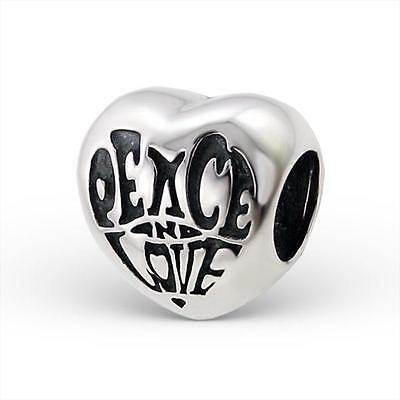 925 Sterling Silver Peace/Love Bubbly Heart Bracelet Charm Bead Gift Boxed B245