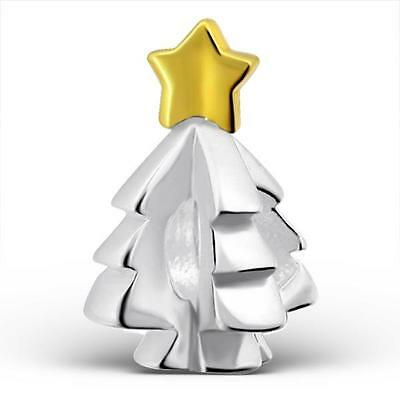 925 Sterling Silver Christmas Tree Gold Star Bracelet Charm Bead Gift Boxed B217