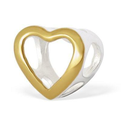 925 Sterling Silver/Gold Love Heart Cut Out Bracelet Charm Bead Gift Boxed B181