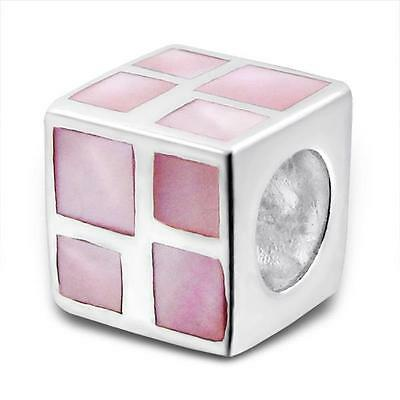 925 Sterling Silver Pink Shell Square Cube Bracelet Charm Bead Gift Boxed B132