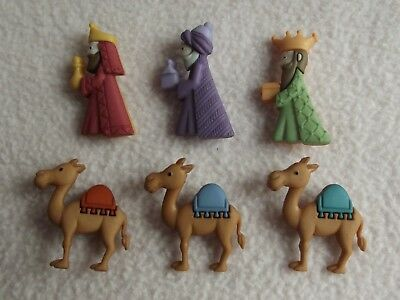 Dress It Up Buttons ~ We Three Kings ~  3 Kings ~ 3 Camels ~ Nativity ~Christmas