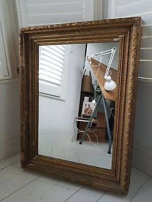 19th Century Antique Gilt Picture Distressed Frame With Mirror