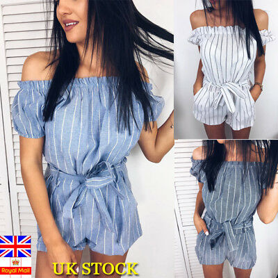 Womens Summer Casual Off Shoulder Romer Playsuit Beach Striped Elastic Jumpsuit