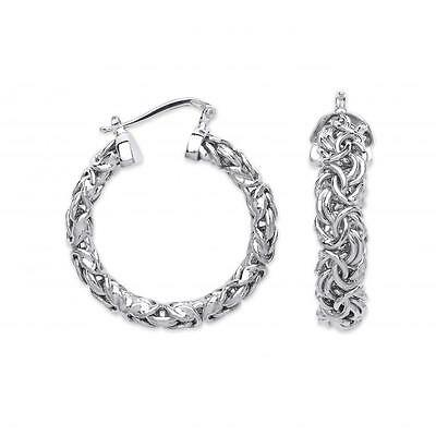 925 Sterling Silver Byzantine Design Chain Links Creole Hoops Cheap Earrings