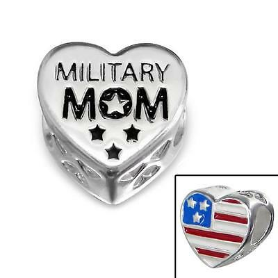 925 Sterling Silver Military Mom USA Heart Bracelet Charm Bead Gift Boxed B339