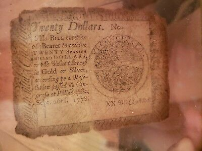 1778 $20 September Framed Continental Currency. Affordable icon Colonial History