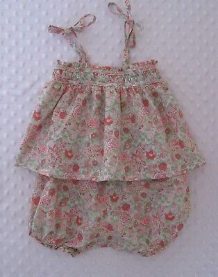 BONPOINT Liberty : Conjunto niña 6 meses / Ensemble blouse + bloomer 6 mois