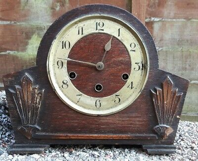 VINTAGE ART DECO MANTLE CLOCK BY HALLER BRASS MOVEMENT CHIMES OAK CASE 1930's.