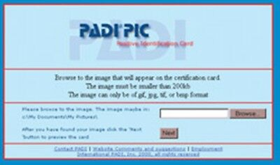 Padi PIC Online Positive Identification Card-PIC Zertifizierung with Manual