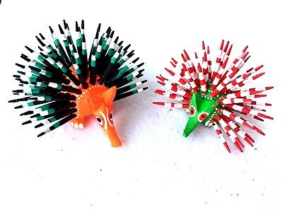 Adorable Pair Of Handcrafted Mini  Porcupine Alebrijes- Oaxaca, Mexico
