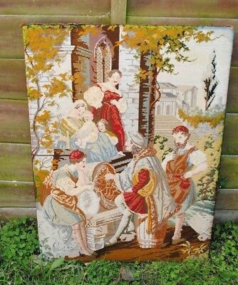 Antique Tapestry  Wool Work  Picture