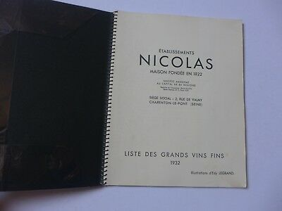 catalogue tarif NICOLAS  1932  LISTE GRANDS VINS FINS  illustrations EDY LEGRAND