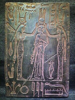 EGYPTIAN ANTIQUES ANTIQUITIES Hathor Isis Nefertari Stela Relief 1279-1213 BCE