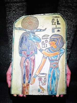 EGYPTIAN ANTIQUES ANTIQUITIES Ram Headed God Amun Ra Stela Relief 1549-1292 BC