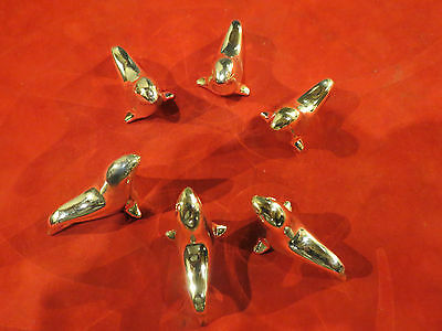 Antique French Art Deco Knife Rests Sea lion seal  Otary vintage Silver Plated