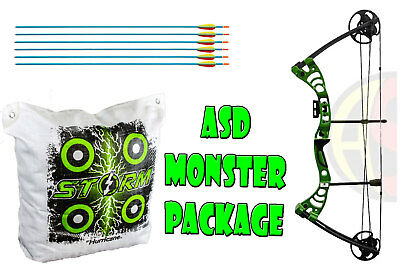 ASD Green Monster Compound Archery Bow Package With Storm II Bag Target
