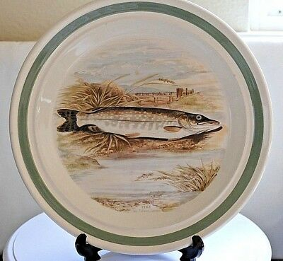 "PORTMEIRION The Compleat Angler ~ Round Dinner Plate ~ 10.25"" ~ Pike ~ No 7."