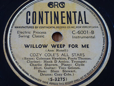 SWING Classics JAZZ Cozy Cole's All Stars WILLOW WEEP FOR 78rpm Schellackplatte