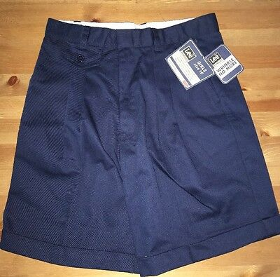 Lee School Girls Size 16 Navy Blue Wrinkle Free Shorts. Pleated. NWT