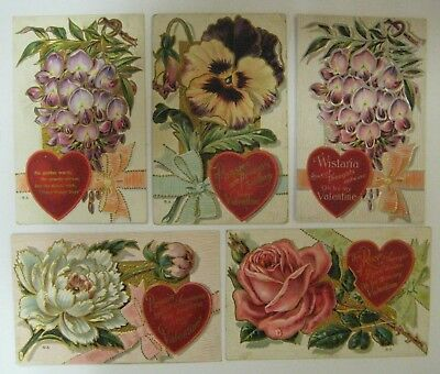 Vtg Early 1900's Lot Valentine Day Postcard Antique Embossed FLOWER SERIES No. 3