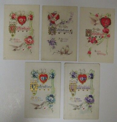 Vtg Early 1900's Lot Valentine Day Postcard Antique Embossed WHITE DOVES Series