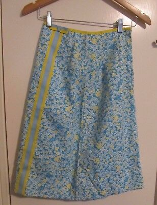 "Vintage Lilly Pulitzer ""The Lilly"" Women Bright Floral Yellow Blue Skirt sz 6"