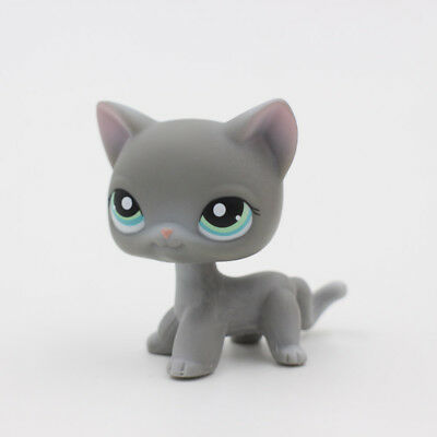 Littlest Pet Shop LPS #126 Gray Cat Teal Eyes Rare Animal Kids Toys Collection