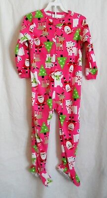 Girls 5T Pink Christmas Super Cozy Fleece Santa Reindeer Sleeper Nwt ~ Carter's