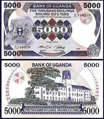 Uganda 5000 5,000 Shillings 1986 Unc 2 Pcs Consecutive Pair P 24B