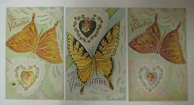 Vintage Early 1900's Lot Valentine Day Postcard Antique Series BUTTERLY SERIES