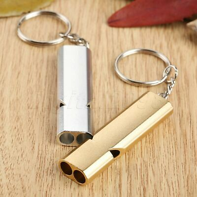Silver/Gold Loud Aluminium Whistle Camping Hiking Survival Keychain Dog Training
