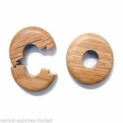 2X 15mm x 11.3mm SOLID OAK COLOUR WOODEN WOOD RADIATOR PIPE COLLARS COVER FLOOR
